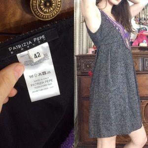 Patrizia Pepe Dresses - Patricia Pepe Tweed Mini Grey Dress Bohemian Coins
